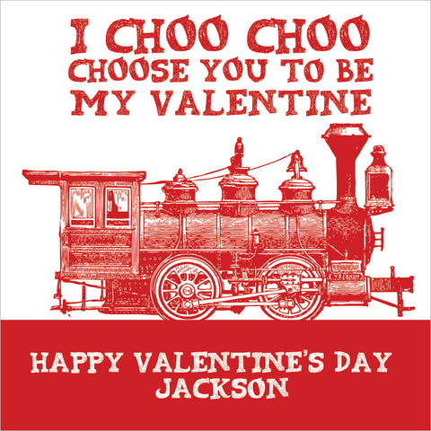 vintage train in red Valentine's Day class gift tags