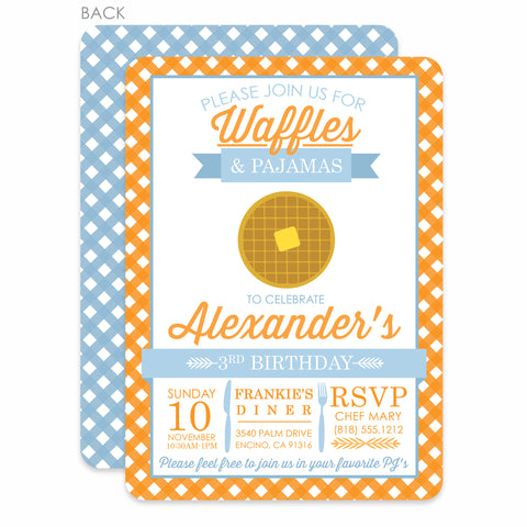 Waffles and Pajamas Invitation | Swanky Press | Blue & Orange
