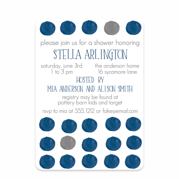 Dark Blue Watercolor Dots Baby Shower Invitation