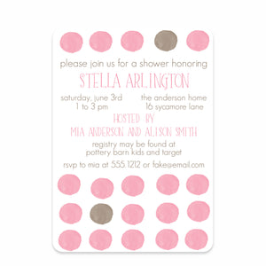 Pink Watercolor Dots Baby Shower Invitation