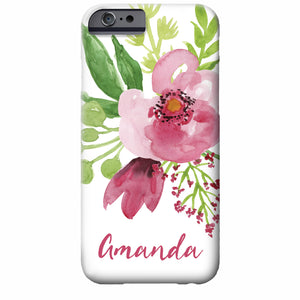 Floral Watercolor iPhone Case (deep pink) | Swanky Press