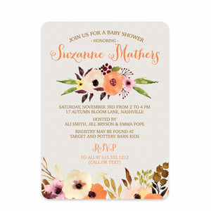 Watercolor Floral Baby Shower Invitations from Swanky Press (front view)
