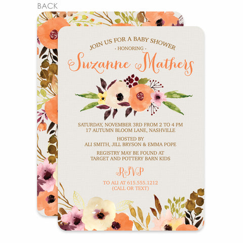 Watercolor Floral Baby Shower Invitations from Swanky Press