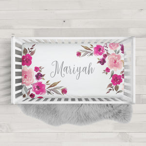 Personalized Crib Sheet with Pink Watercolor Flowers | PIPSY.COM