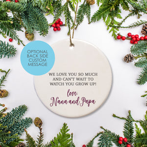 Personalized Ceramic Round Ornament Baby Keepsake