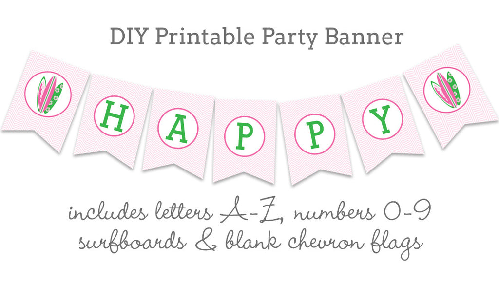 Little Surfer Girl diy printable party banner