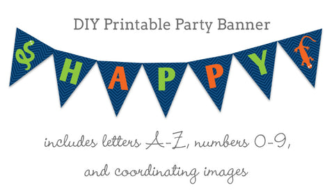 reptile party diy printable party banner