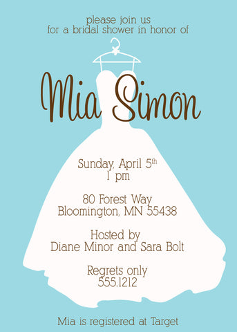 Wedding dress silhouette on blue shower invitation