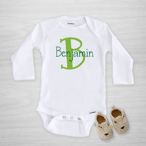 Personalized Initial Gerber Onesie, long sleeved