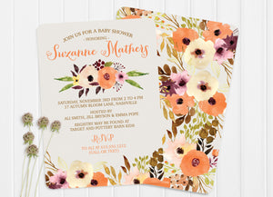 Watercolor Floral Baby Shower Invitations from Swanky Press - I just love the fall autumn colors!