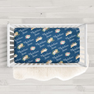 Personalized Crib Sheet | Wildflowers on Navy | PIPSY.COM