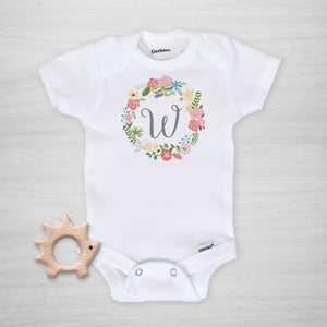 Wildflower Wreath Initial Personalized Gerber Onesie, short sleeved