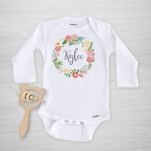 Wildflower Wreath Personalized Onesie, long sleeved