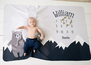 Mountain and Bear Milestone Baby Blanket, Boy Milestone Blanket, PIPSY.COM