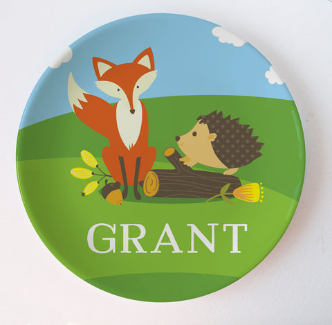Woodland creatures personalized melamine plate