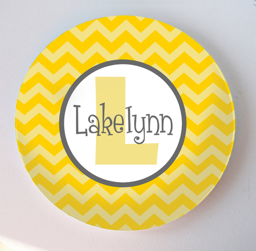 yellow chevron print with navy accent personalized melamine platec