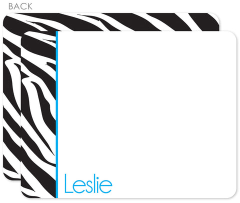 Zebra blue flat notecard