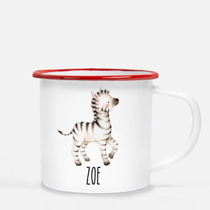 zebra camp mug, personalized with child's name, Pipsy.com, red lip
