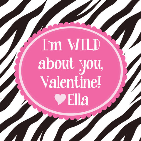 Zebra print class tags for Valentine's Day