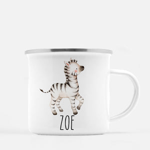 zebra camp mug, personalized with child's name, Pipsy.com