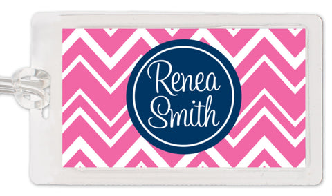 Hot pink zig zag pattern with navy medallion luggage tag