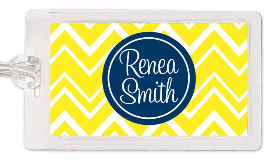 Yellow zigzag with navy medallion luggage tag