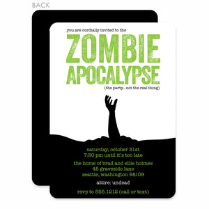 Zombie Apocalypse Halloween Invitation (Printed)