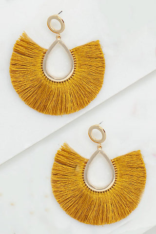 Tassel Fan Earrings - Mustard