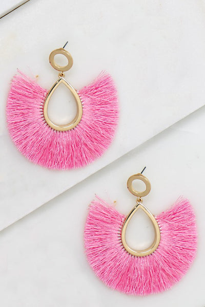 Tassel Fan Earrings - Pink