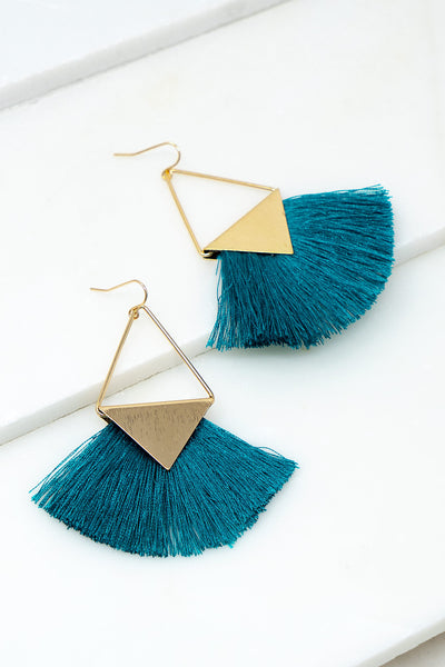 Fringe Earrings - Teal + Gold