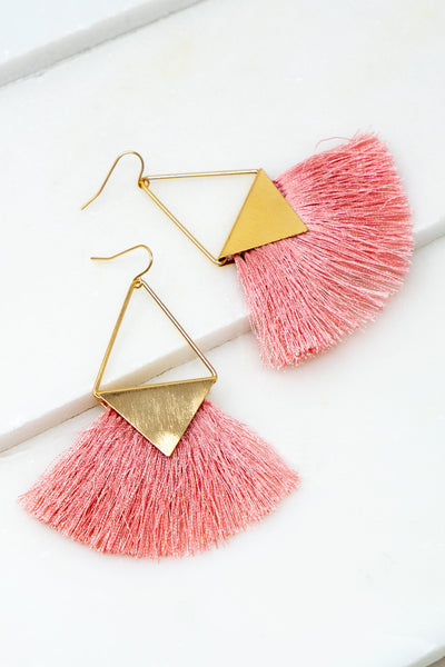 Fringe Earrings - Pink + Gold