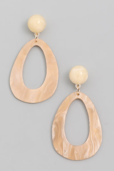 Teardrop Earrings - Beige/Natural