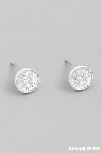 Hamsa Circle Stud Earrings - Silver