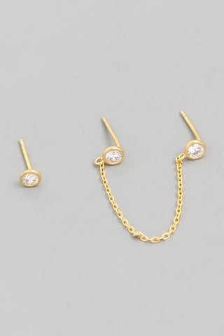 Chain Stud Earrings Set