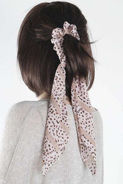 Print Scrunchie Scarf - Brown