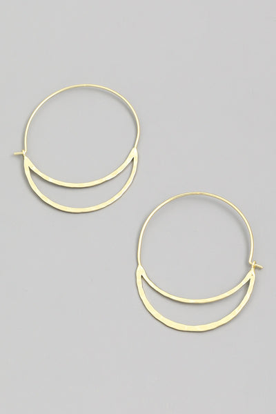 Flat Semi Circle Hoop Earrings