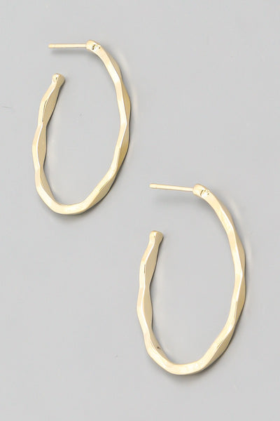 Ridge Hoop Earrings - Gold
