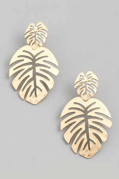 Monstera Earrings - Gold