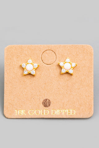 Mini Opal Star Stud Earrings