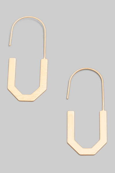 Goldy U Shape Hoop Drop Earrings