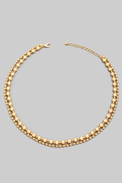 Layered Ball Chain Necklace - Gold