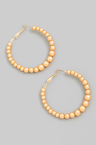 Metallic Ball Beaded Hoop Earrings