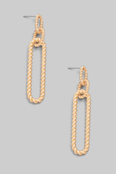 Oval Chain Link Drop Earrings