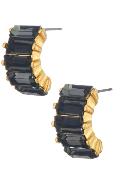 Baguette post earrings - Black