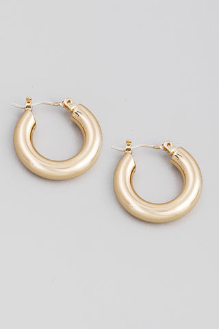 Mini Gold Tube Hoop Earring