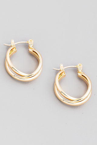 Double Twist Latch Hoop Earrings