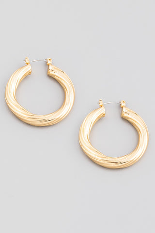 Metallic Tube Latch Hoop Earrings
