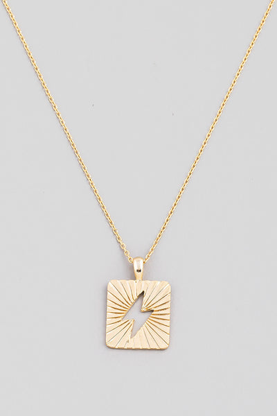 Square Lightning Bolt Pendant Necklace