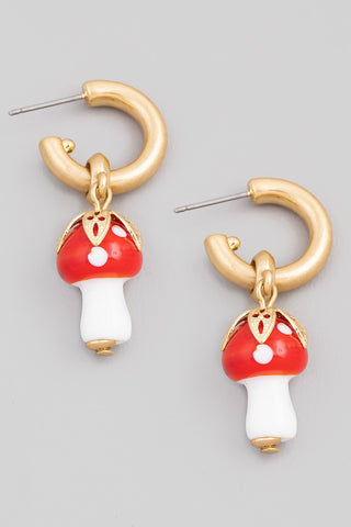 Mushroom Drop Hoop Earrings