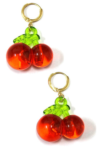 Cherry Huggie Earrings